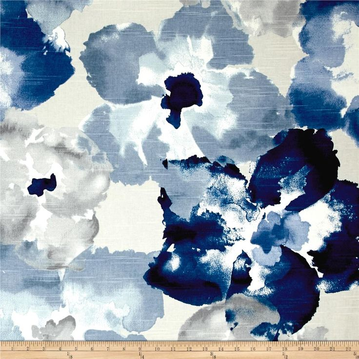Robert Allen @ Home Aptura Floral Indigo from @fabricdotcom  From Robert Allen, and screen printed on cotton duck, this beautiful and versatile home decor fabric features slubs. It is perfect for a variety of home decor projects, including window treatments (draperies, valences), toss pillows, light upholstery, and more. Colors include shades of grey, shades of blue, and cream.