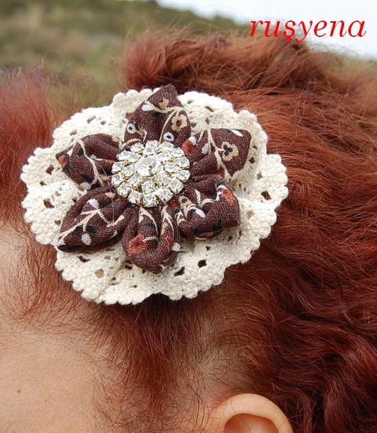 fabric flower hairclip