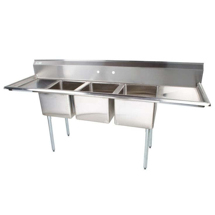 """Regency 88"""" 16-Gauge Stainless Steel Three Compartment Commercial Sink with 2 Drainboards - 16"""" x 20"""" x 12"""" Bowls"""