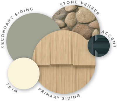 Mastic color palette, vintage moxy, quest vinyl siding, cedar discovery vinyl shake siding, raised panel shutters, designer accents, trim, r...
