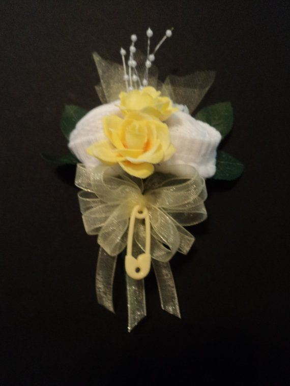 Yellow Baby Sock Rose Corsage Baby Shower Gift by BabyBlossomGifts, $10.99