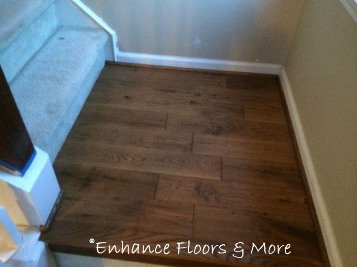 Landing in prefinished handscraped oak hardwood floors for Laminate flooring barnsley