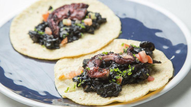 Jonathan Gold reviews Holbox:  The Yucatán-style seafood menu at Gilberto Cetina Jr.'s Holbox in Mercado La Paloma includes octopus tacos.