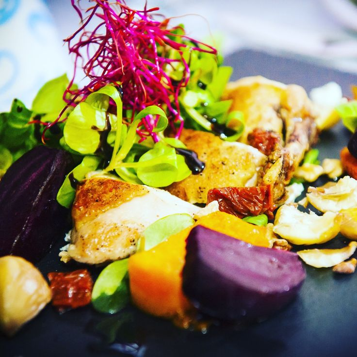 Chicken with Red Beet and Pumpkin