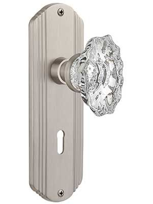 Streamline Deco Mortise-Lock Set with Chateau Crystal Glass Knobs | House of Antique Hardware