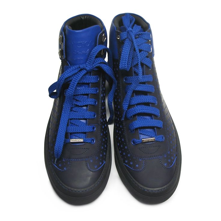 Eye-catching Jimmy Choo Argyle - 200 high top sneakers in blue color featuring perforated stars. Round toe, a lace-up front fastening, and a brand embossed tongue.Size: 42.Made in Italy.