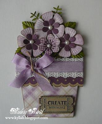 Purple & green flower pot card. Cute!
