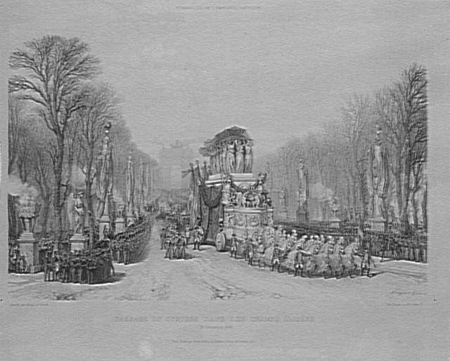 Retour des cendres de Napoléon Ier de Sainte-Hélène. 15 décembre 1840 : le char funèbre de Napoléon descend les Champs-Elysées à Paris.