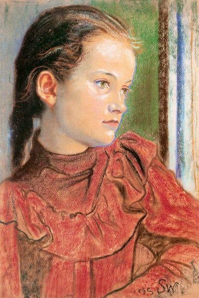 Stanisław Wyspiański Portrait Of A Girl In A Red Dress