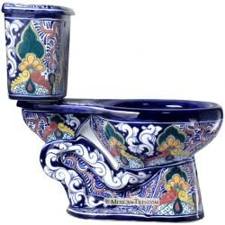 Mexican Talavera toilet...... would b nice:P ha I love this! wouldn't match a damn thing but its still cool :)