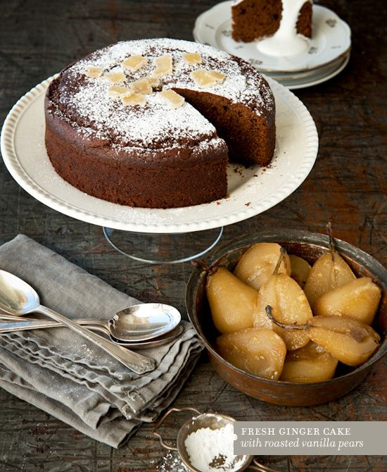 Fresh Ginger Cake with Roasted Vanilla Pears