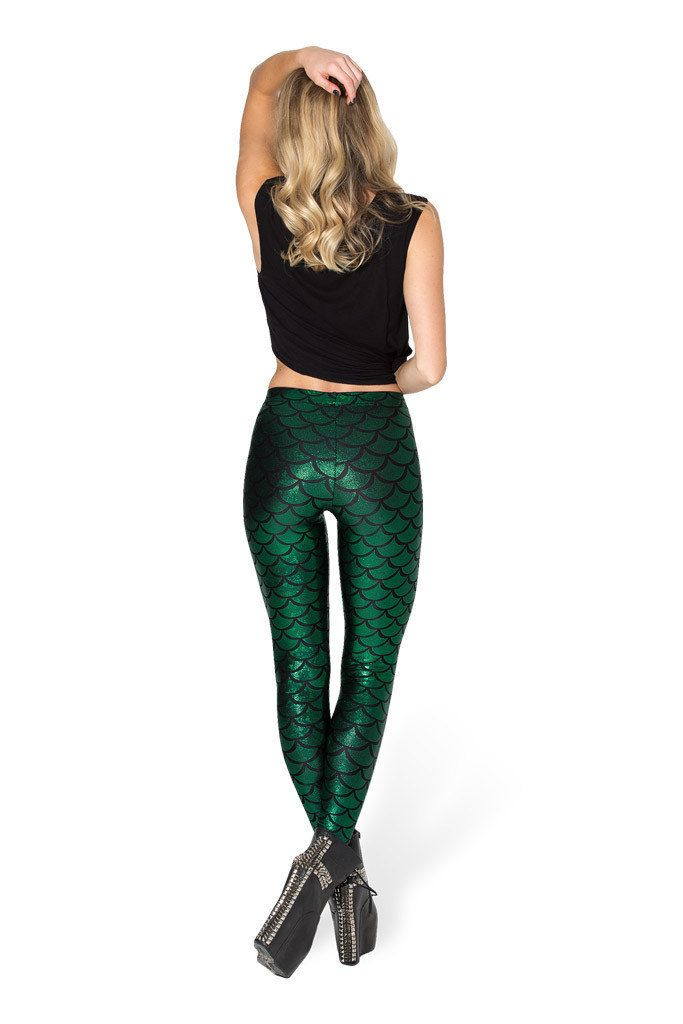 This listing is for 1 Mermaid Leggings in Dark Green.  Lady Shine Scale Mermaid Printed Leggings Slim High Waist Pencil Pants Feature: *It is very stretchy and comfortable. *It shows your body shape perfectly. *Can be combined with sneakers and sweatshirt or the elegantly with ballerina and jacket   Condition: high quality Material: Milk Silk Size: S M L XL Size tags Waist Lehgth  S 54-78cm/21.26-30.71 90cm/35.43  M 56-80cm/22.05-31.50 91cm/35.82  L 58-82cm/22.83-32.28 92cm/36.22  XL…