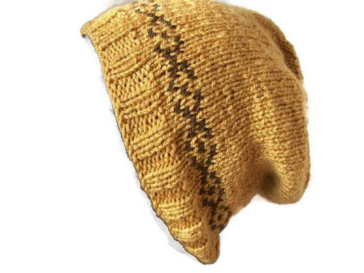 Mustard, Fair Isle Slouch Hat, Hand knitted, £14.99