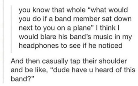 I would probably pretend not to notice them and sit in uncomfortable silence for the whole plane ride because if I talked to them I'd probably embarrass myself and then it would be awkward.