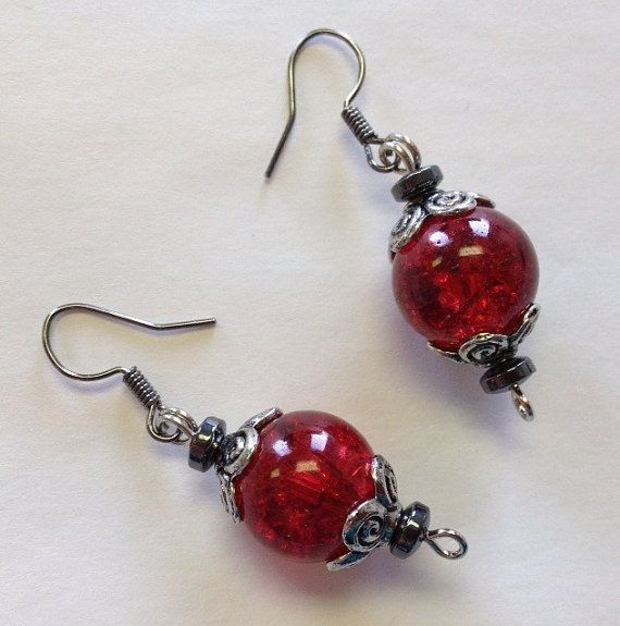 Glass ruby earrings Vintage Earrings Wizard of by StarBoundWestern