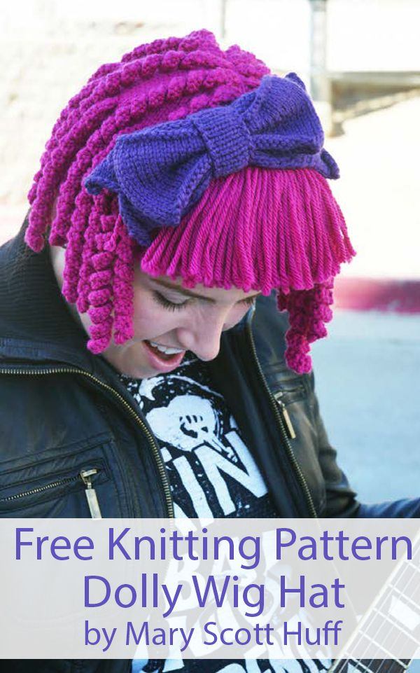 Free Wig Hat Knitting Pattern For Dolly Wig Hat Knitting Patterns Free Hats Free Knitting Knitted Hats