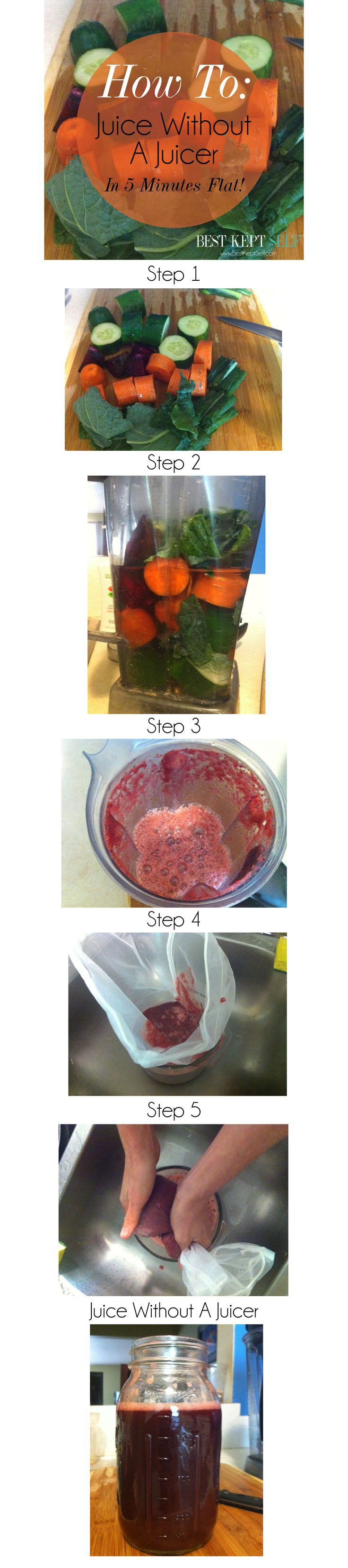 How To: Juice Without A Juicer  in 5 minutes flat! Best Kept Self www.bestkeptself.com