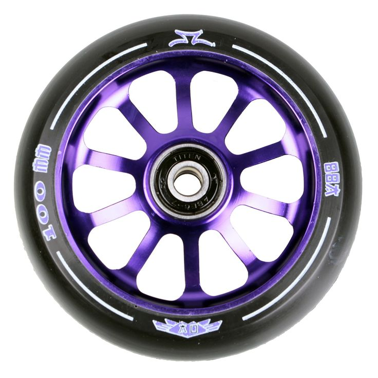 #AO Scooters AO Delta 2017 10 Hole 100mm Scooter Wheel - Purple #Features:6061 T6 Aluminum Spoked CoreSuper High Rebound PU, 88ATiten ABEC 7 BearingsLifetime Warranty Against DehubbingEach comes with an extruded aluminum core, black urethane and redesigned wheel graphics, specific to each core color. The AO Delta wheel ships complete with Titen ABEC7 Bearings and bearing spacers pre-installed. Lifetime warranty against dehubbing.Price is per wheel