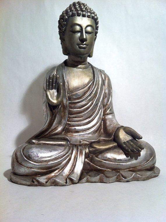 Sitting Buddha Statue Asian Silver Meditating door phantomas2011