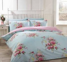 100% Cotton Flannelette King Size Quilt Duvet Cover Duck Egg Blue and Pink Floral Bedding Bed Set