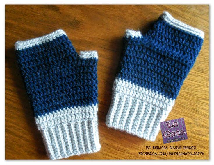 LUVAS SEM DEDOS DE CROCHÊ - by LA GATA - Melissa Gisele Bencz - Mitones crochet / Fingerless crochet