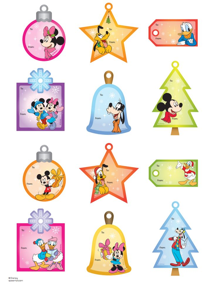 Disney Christmas tags printable
