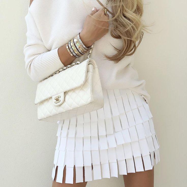 Up Close -  Top by #Intermix, #Alaïa skirt and medium #ChanelFlapBag.  See…