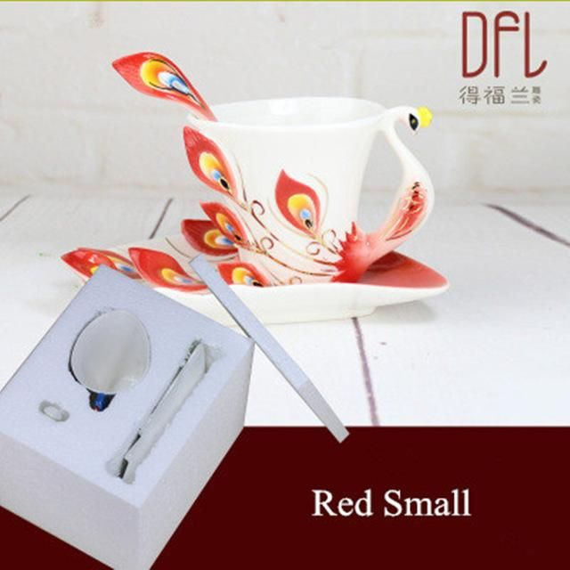 Enamel Peacock Coffee Mug Tea Cup Set Bone China Mugs and Cups Creative Drinkware CLEARANCE SALE!