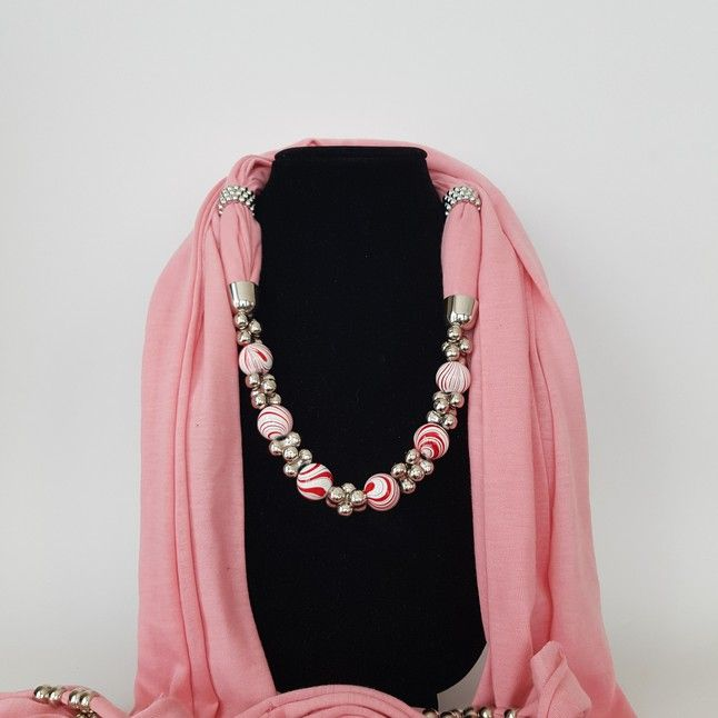Pink Scarf with red and white beads - Three C Jewelry