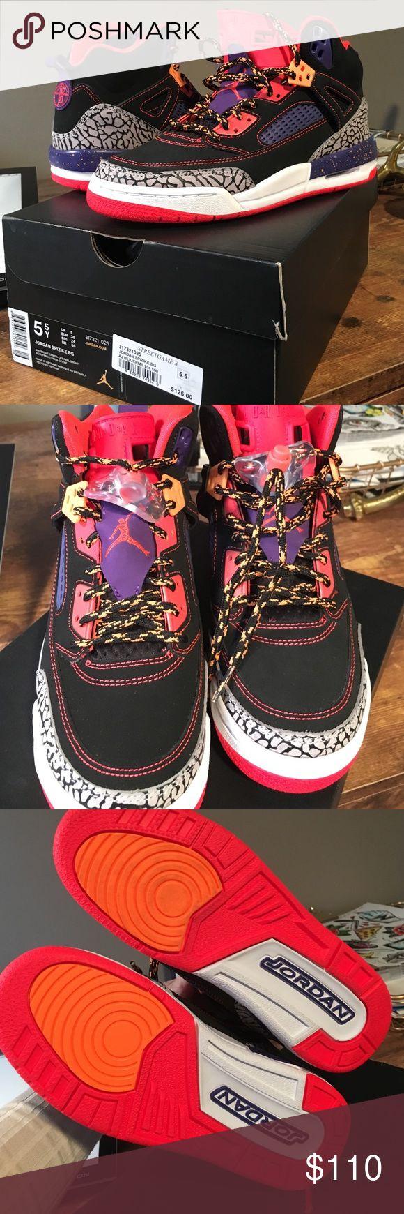 Jordan spizike high top sneakers New 🔥 Jordan high top sneakers - have never been worn. Black, purple, orange, grey, white. Size 5.5 in kids, 7 in women's. Jordan Shoes Sneakers
