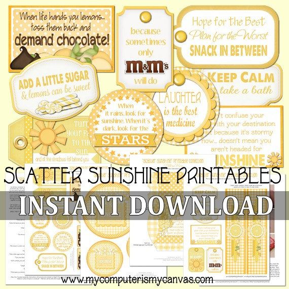 Scatter Sunshine, Box of Sunshine - Printable INSTANT Download