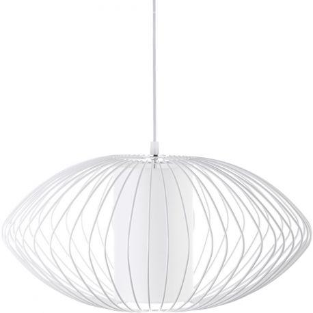 Metalowa lampa wisząca z klatką Flex doskonała jako oświetlenie sypialni. Dostępna również w kolorze czarnym. http://blowupdesign.pl/pl/35-lampy-klatki-metalowe-loft-design #lampywiszące #oświetlenie #lampyklatki #lampymetalowe #oświetleniesypialni