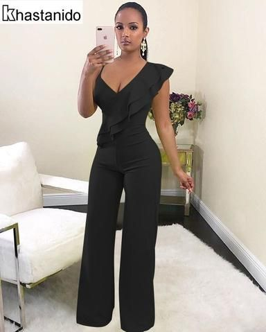 b8c42b81c0f4 Sexy Deep V Neck Ruffle Wide Leg Jumpsuit Women Rompers Elegant Casual  Loose Overalls Black White Red Party Club Jumpsuit