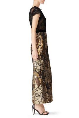7e57ed67e5da Gold Artwork Sequin Gown by Marchesa Notte