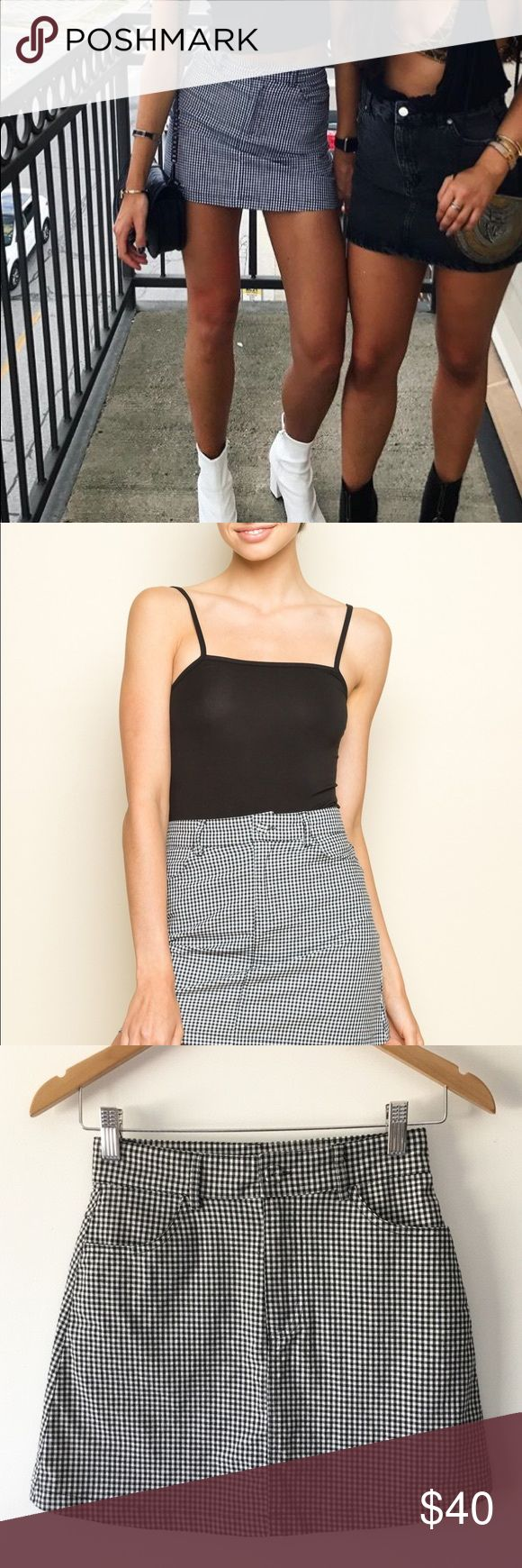 Brandy Melville Juliette Gingham Skirt Brandy Melville gingham juliette skirt nwot. one size fits all, probably would fit a small/0-2/24ish the best, but check brandy melville size chart online to confirm :) doesn't fit me but very cute skirt, in flawless condition! Brandy Melville Skirts Mini