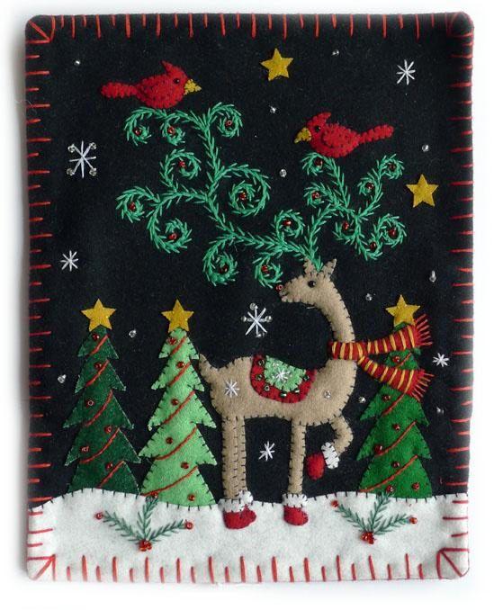 8x10 Adorable Reindeer Tree Christmas Wool Felt