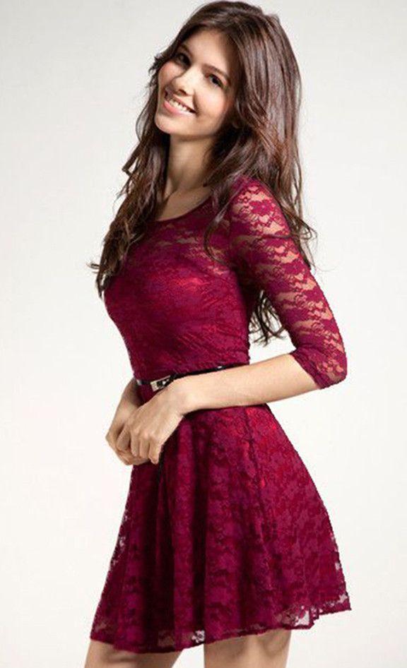 Love Her Elegance Belted Lace Dress