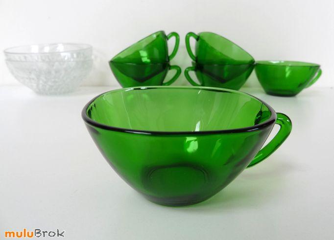 Vaisselle Vintage ... Tasses à café en verre VERECO ... www.mulubrok.fr ...