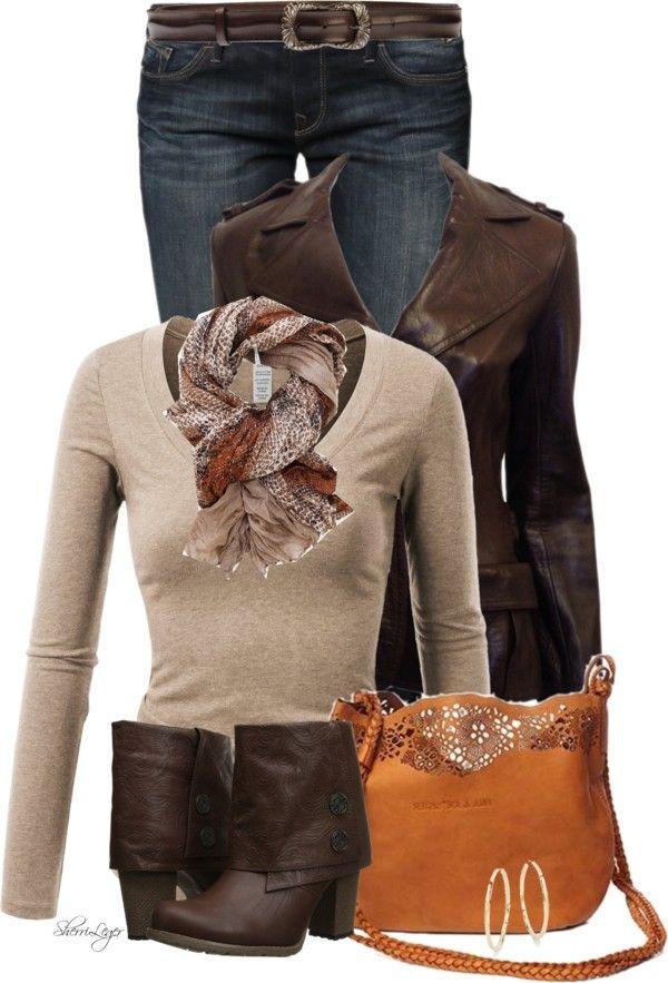Chocolate Cowboy Leather Jacket Stylish Fall Outfit