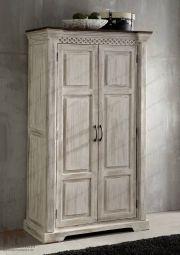 Schrank - Massive Möbel aus der Serie CASTLE ANTIK. Mit weißem Wachs behandeltes Mangoholz verbindet sich mit dunkel lackierter Akazie. • Alle Produkte und Infos zur Möbel-Serie in unserem Onlineshop: www.massivmoebel24.de