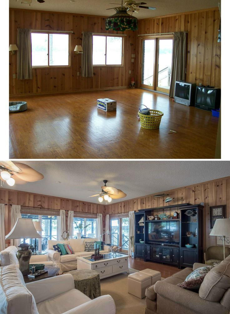 Lake house den before and after.  All the short sliders were enlarged to full length casement windows to match the door.  Dated ceiling fans were changed to decorative style.  Windows are dressed with canvas panels hanging from dark rods.  Matchstick roman shades finish the tropical style.