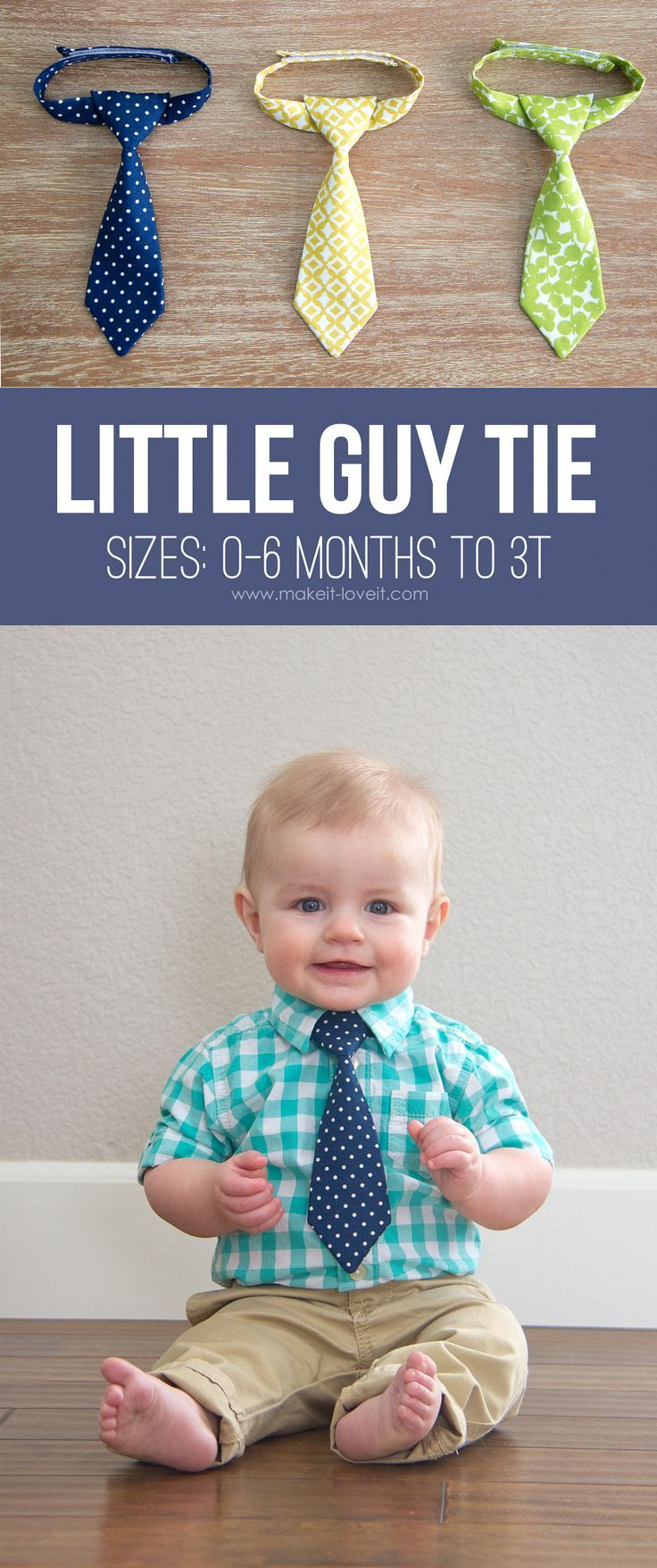"""The """"Little Guy Neck Tie"""" --- a PDF pattern (sizes 0-3 months - 3T)   via Make It and Love It"""