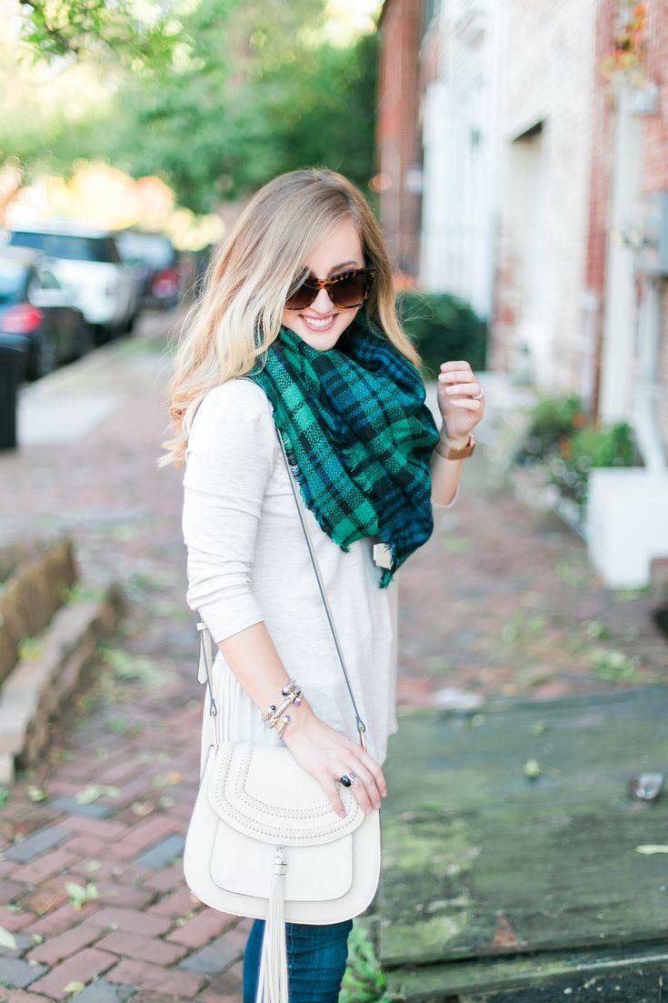 ModCloth Blanket Scarf, Hunter Green, Pumps, Ruffle Shirt, Fall Outfit, Fall Fashion, Winter Outfit, Winter Fashion Inspiration, Saddle Bag, Chloe Look Alike