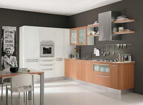 Küchen Trends 2013 Holz Weiß Graue Wände Urban Chic