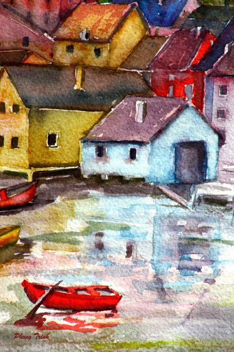 Lods Sur La Loue 20 - Phong Trinh Watercolor Fine Art Print Avail. At: http://www.artpal.com/phongtrinh/