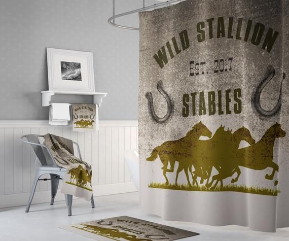 Rustic Farmhouse Shower Curtain Personalized Horses Long And