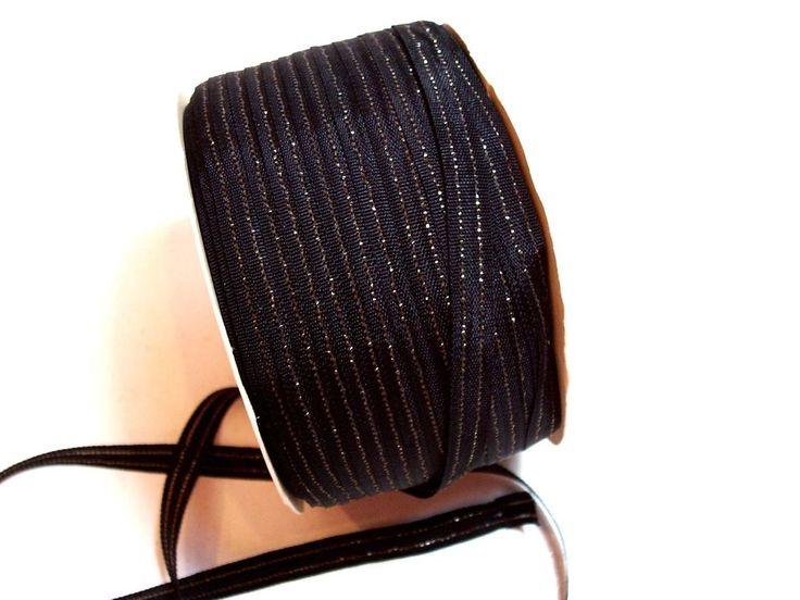 Black Metallic Gold Stripe Woven Ribbon 1/4 inch wide x 10 yards, Black Ribbon #Unbranded