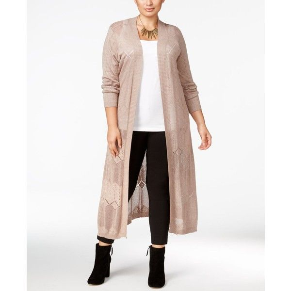 Belldini Plus Size Pointelle-Stitch Long Duster Cardigan ($35) ❤ liked on Polyvore featuring plus size women's fashion, plus size clothing, plus size tops, plus size cardigans, heather mocha, plus size long cardigan, white pointelle cardigan, long white cardigan and women's plus size cardigans