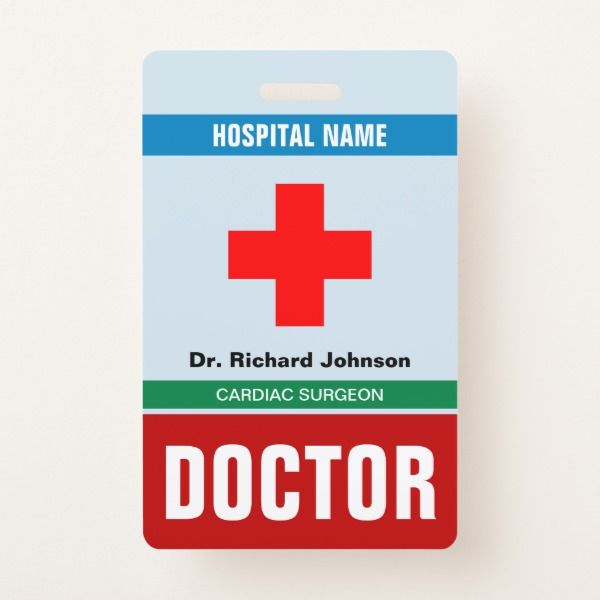 Customized Name Doctor Id Card Badge Zazzle Com Id Card Template Card Template Identity Card Design