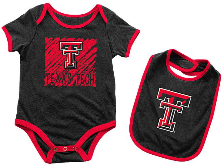 Infant Texas Tech Red Raiders Black Look At The Baby Onesie and Bib Set $19.95